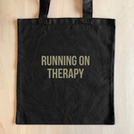 Sad Shop Running On Therapy Black Tote Bag