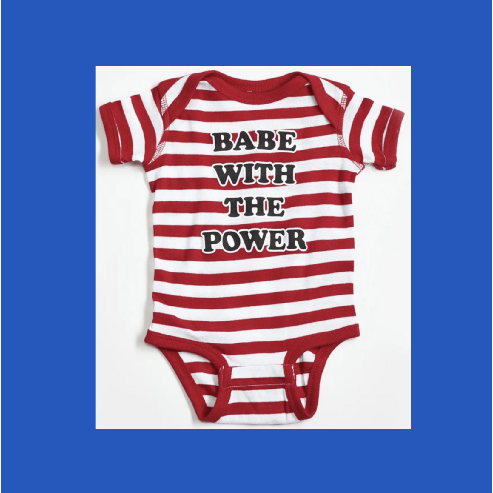 Orchard Street Apparel Babe With The Power Red + White Striped Onesie