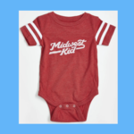 Orchard Street Apparel Midwest Kid Red w/ White Stripe Sleeve Onesie