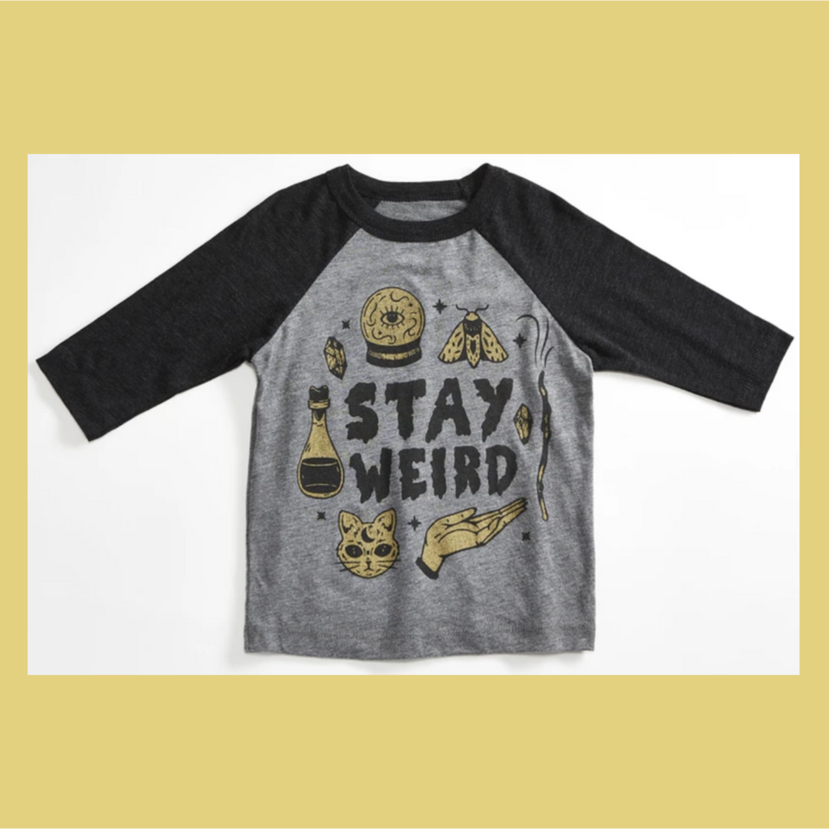 Orchard Street Apparel Stay Weird Potion Heather Grey Raglan Toddler + Youth Tee