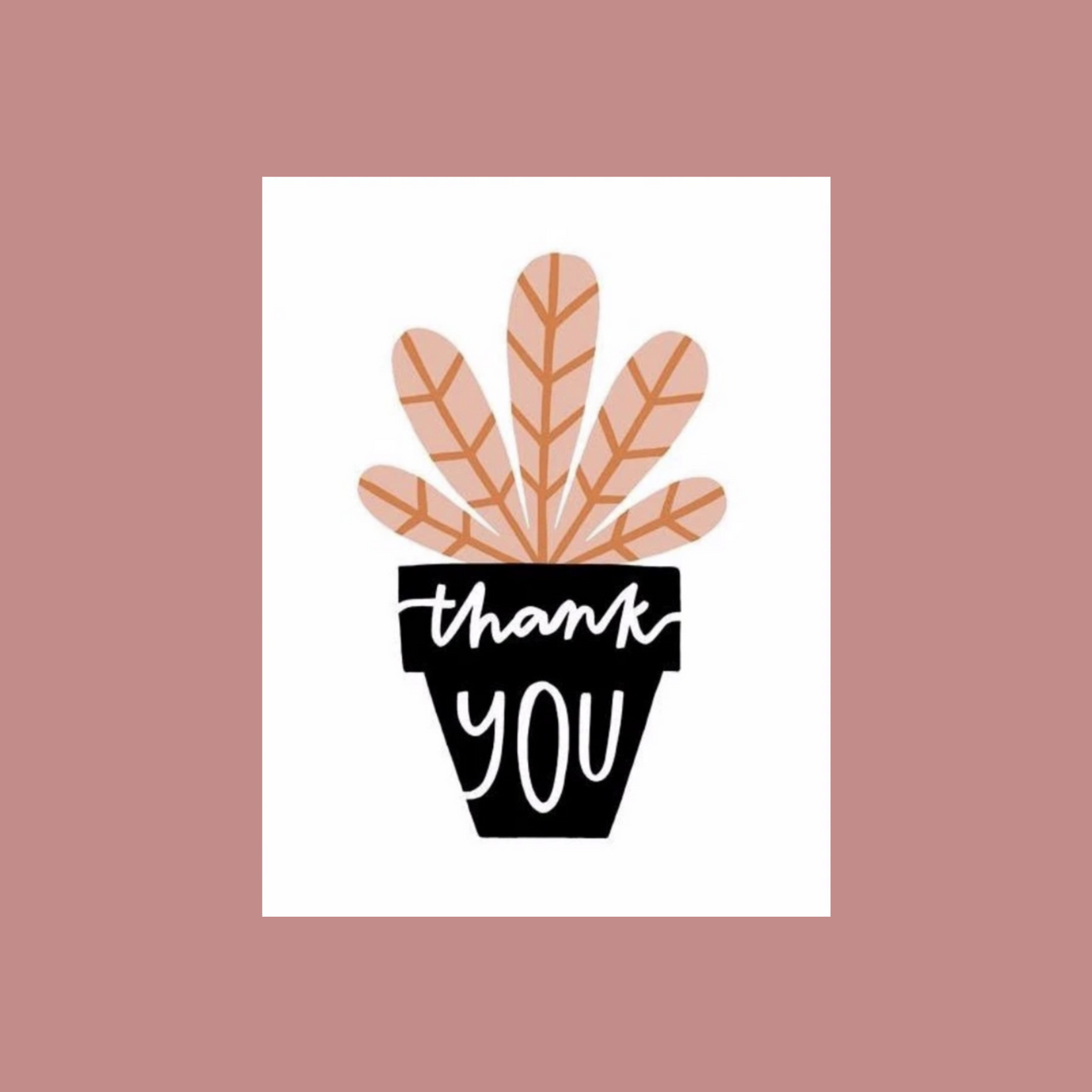 Worthwhile Paper Thank You Pink Potted Plant Greeting Card