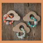 Sweetpea & Co. Wood Cloud + Silicone Bead Teether Toy