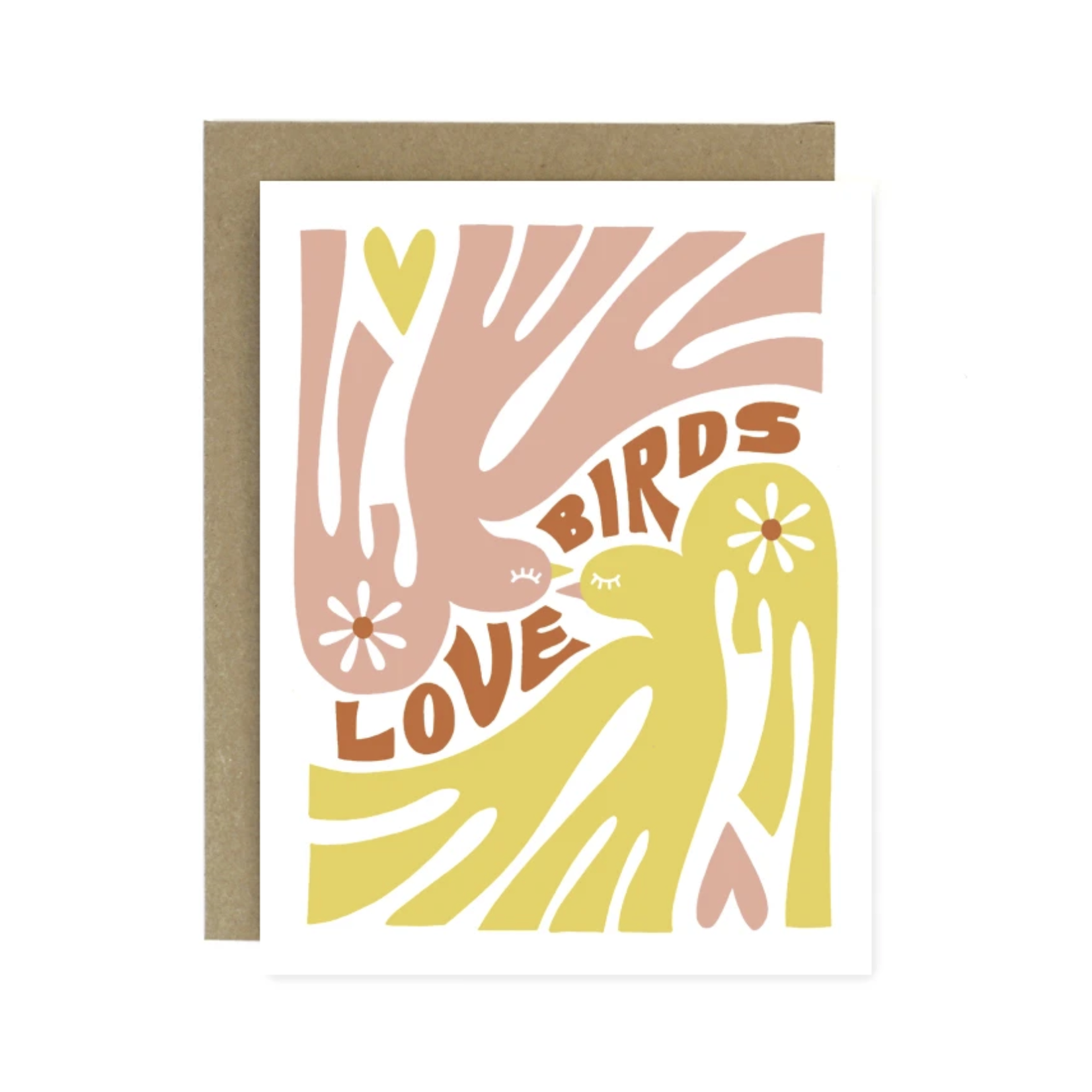 Worthwhile Paper Love Birds (Pink + Yellow) Greeting Card
