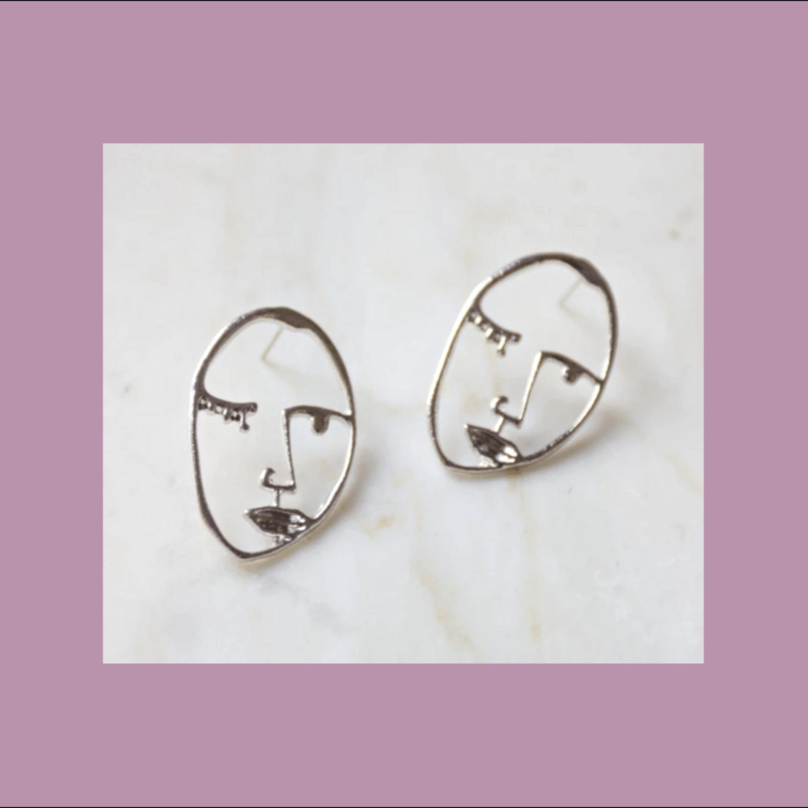 Oceanne (POC) Silver: Visage Face Stud Earrings