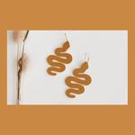 Oceanne (POC) Mustard Faux Leather Snake Earrings