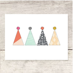 Haven Paperie Four Party Hats (Birthday/Celebrate) Greeting Card