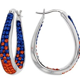 Chelsea Taylor BLUE AND ORANGE CRYSTAL HORSESHOE HOOP EARRINGS