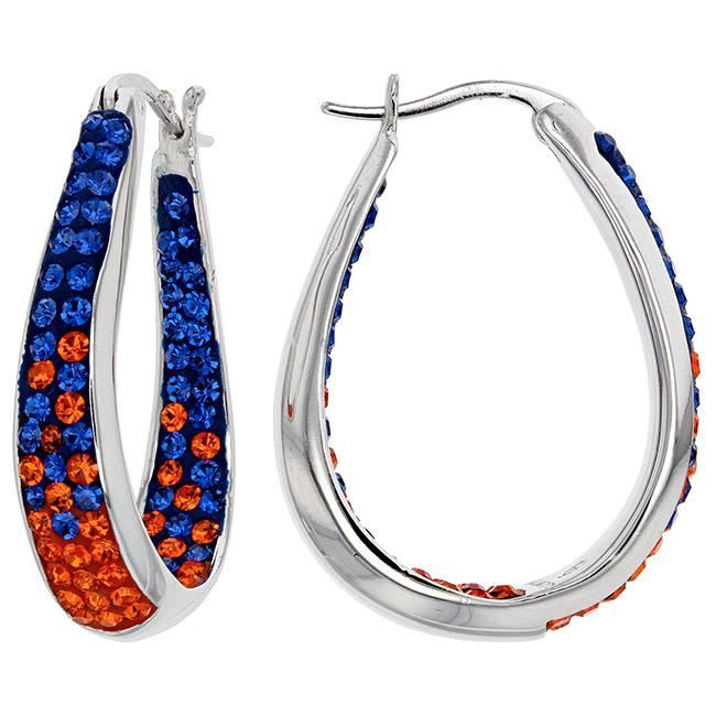 Chelsea Taylor BLUE AND ORANGE CRYSTAL HORSESHOE HOOP EARRINGS