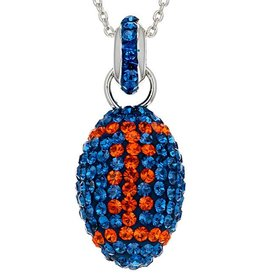 Chelsea Taylor BLUE AND ORANGE CRYSTAL FOOTBALL PENDANT