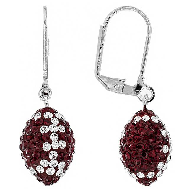 Chelsea Taylor MAROON AND WHITE CRYSTAL FOOTBALL DANGLE EARRINGS
