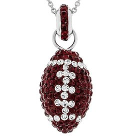 Chelsea Taylor MAROON AND WHITE CRYSTAL FOOTBALL NECKLACE