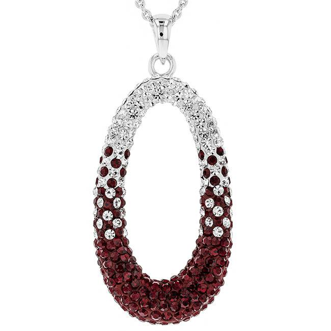 Chelsea Taylor MAROON AND WHITE CRYSTAL OVAL NECKLACE