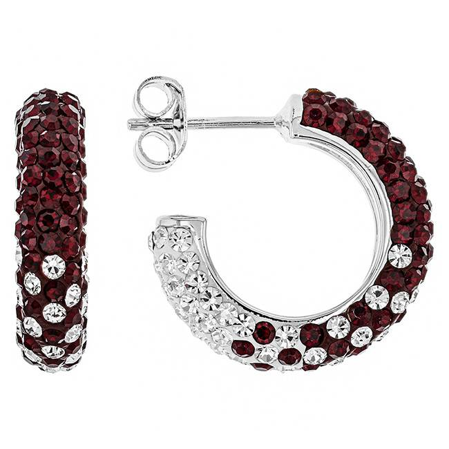 Chelsea Taylor MAROON AND WHITE CRYSTAL HOOP EARRINGS