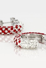 Chelsea Taylor RED AND WHITE CRYSTAL HOOP EARRINGS