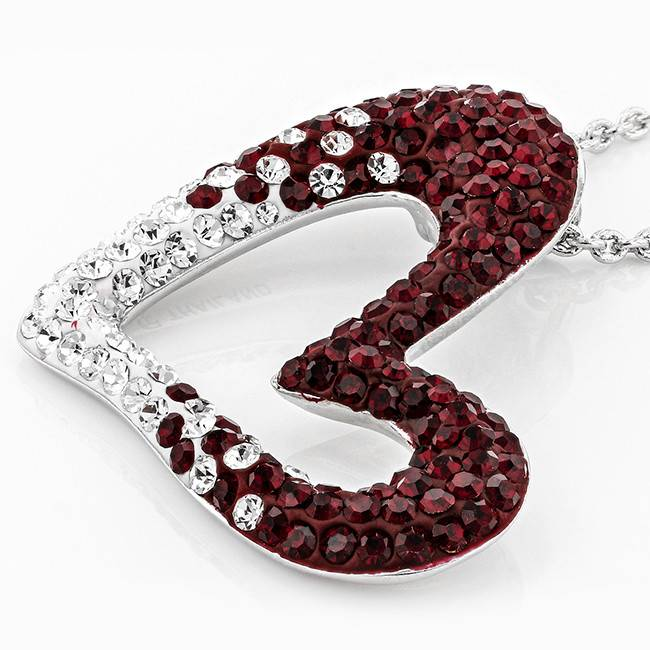 Chelsea Taylor MAROON AND WHITE CRYSTAL HEART NECKLACE
