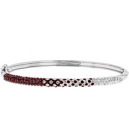 Chelsea Taylor MAROON AND WHITE CRYSTAL THIN BANGLE BRACELET