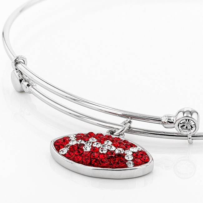 Chelsea Taylor RED AND WHITE CRYSTAL CHARM BANGLE BRACELET