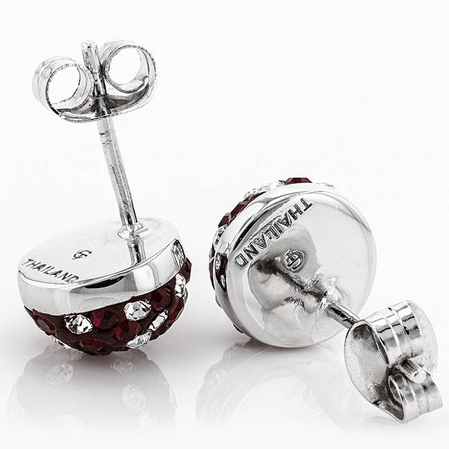 Chelsea Taylor MAROON AND WHITE CRYSTAL STUD EARRINGS