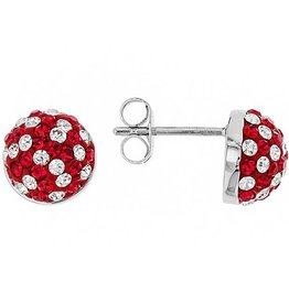 Chelsea Taylor RED AND WHITE CRYSTAL STUD EARRINGS