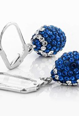 Chelsea Taylor BLUE AND WHITE CRYSTAL FOOTBALL DANGLE EARRINGS