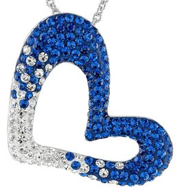 Chelsea Taylor BLUE AND WHITE CRYSTAL HEART PENDANT WITH CHAIN