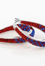 Chelsea Taylor RED AND BLUE CRYSTAL HORSESHOE HOOP EARRINGS