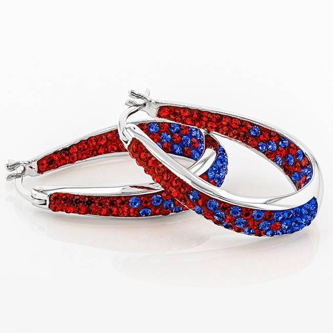 Chelsea Taylor RED AND BLUE CRYSTAL HORSESHOE HOOP EARRINGS