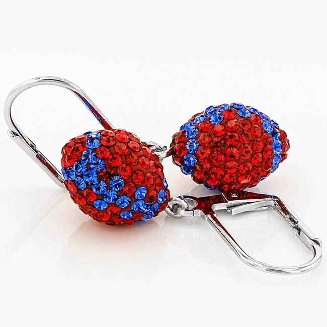 Chelsea Taylor RED AND BLUE CRYSTAL FOOTBALL DANGLE EARRINGS