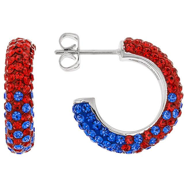 Chelsea Taylor Red And Blue Crystal Hoop Earrings