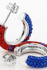 Chelsea Taylor RED AND BLUE CRYSTAL HOOP EARRINGS