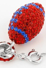 Chelsea Taylor RED AND BLUE CRYSTAL FOOTBALL PENDANT WITH CHAIN