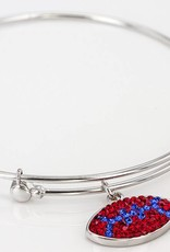 Chelsea Taylor RED AND BLUE CRYSTAL FOOTBALL CHARM BANGLE BRACELET