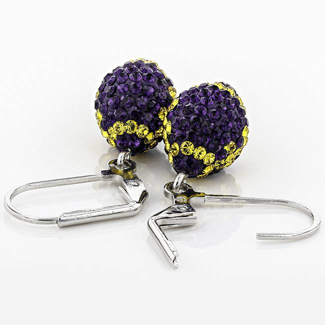 Chelsea Taylor PURPLE AND GOLD CRYSTAL FOOTBALL DANGLE EARRINGS