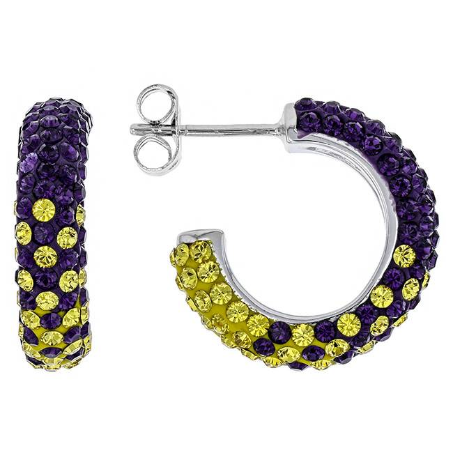 Chelsea Taylor PURPLE AND GOLD CRYSTAL HOOP EARRINGS