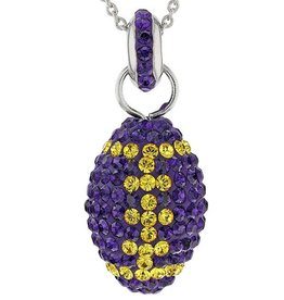 Chelsea Taylor PURPLE AND GOLD CRYSTAL FOOTBALL PENDANT WITH CHAIN