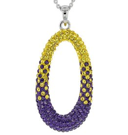 Chelsea Taylor PURPLE AND GOLD CRYSTAL OVAL PENDANT WITH CHAIN