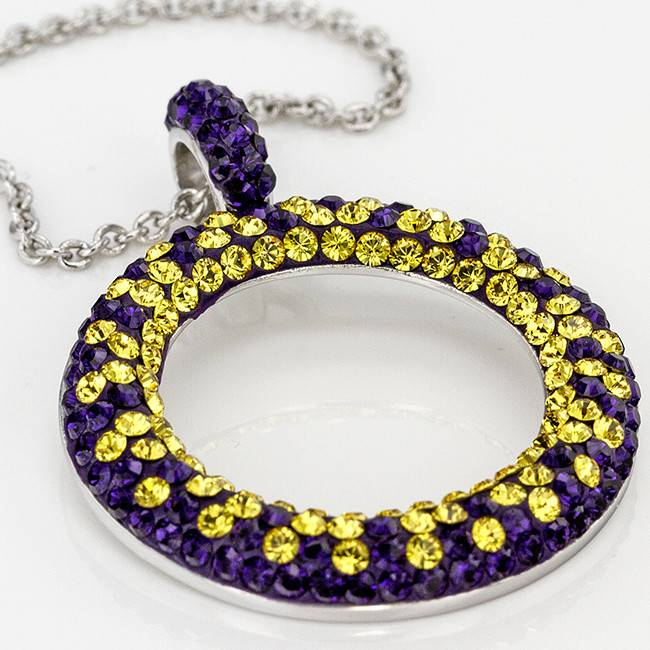 Chelsea Taylor PURPLE AND GOLD CRYSTAL CIRCLE PENDANT WITH CHAIN