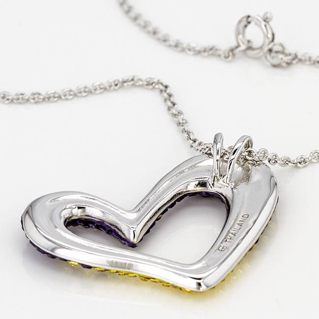Chelsea Taylor PURPLE AND GOLD CRYSTAL HEART PENDANT WITH CHAIN