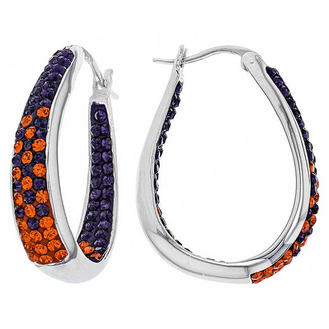 Chelsea Taylor ORANGE AND PURPLE CRYSTAL HORSESHOE HOOP EARRINGS