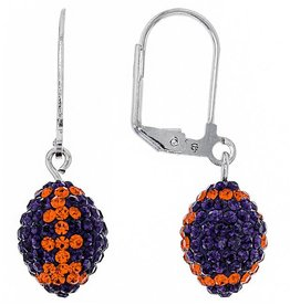Chelsea Taylor ORANGE AND PURPLE CRYSTAL FOOTBALL DANGLE EARRINGS