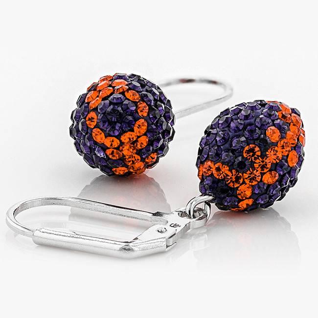 Chelsea Taylor ORANGE AND PURPLE CRYSTAL FOOTBALL DANGLE EARRINGS