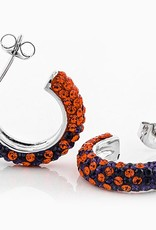 Chelsea Taylor ORANGE AND PURPLE CRYSTAL HOOP EARRINGS