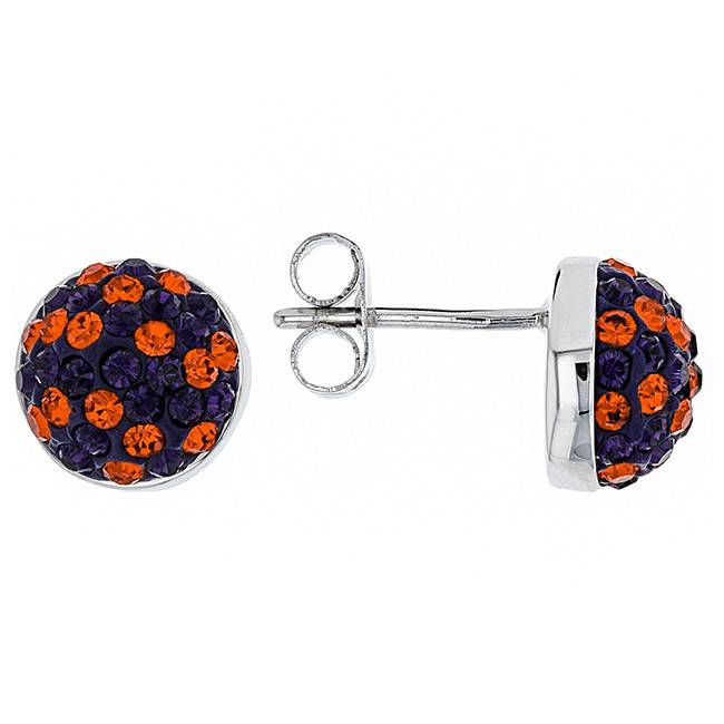 Chelsea Taylor ORANGE AND PURPLE CRYSTAL STUD EARRINGS