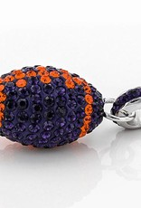 Chelsea Taylor ORANGE AND PURPLE CRYSTAL FOOTBALL PENDANT WITH CHAIN