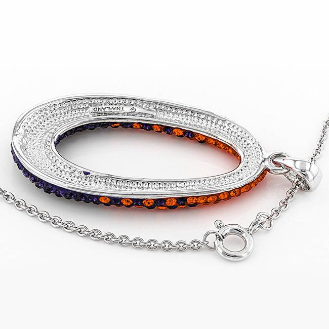 Chelsea Taylor ORANGE AND PURPLE CRYSTAL OVAL PENDANT WITH CHAIN
