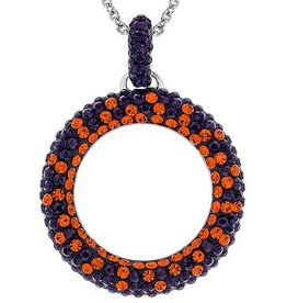 Chelsea Taylor ORANGE AND PURPLE CRYSTAL CIRCLE PENDANT WITH CHAIN