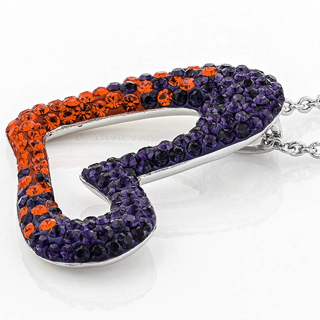 Chelsea Taylor ORANGE AND PURPLE CRYSTAL HEART PENDANT WITH CHAIN