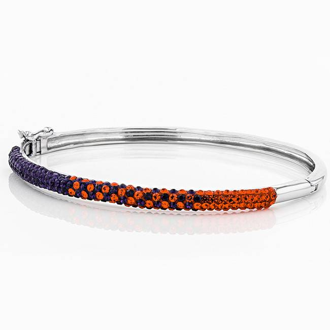 Chelsea Taylor ORANGE AND PURPLE CRYSTAL THIN BANGLE BRACELET