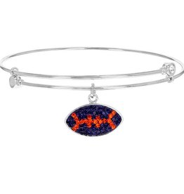 Chelsea Taylor ORANGE AND PURPLE CRYSTAL FOOTBALL CHARM BANGLE BRACELET