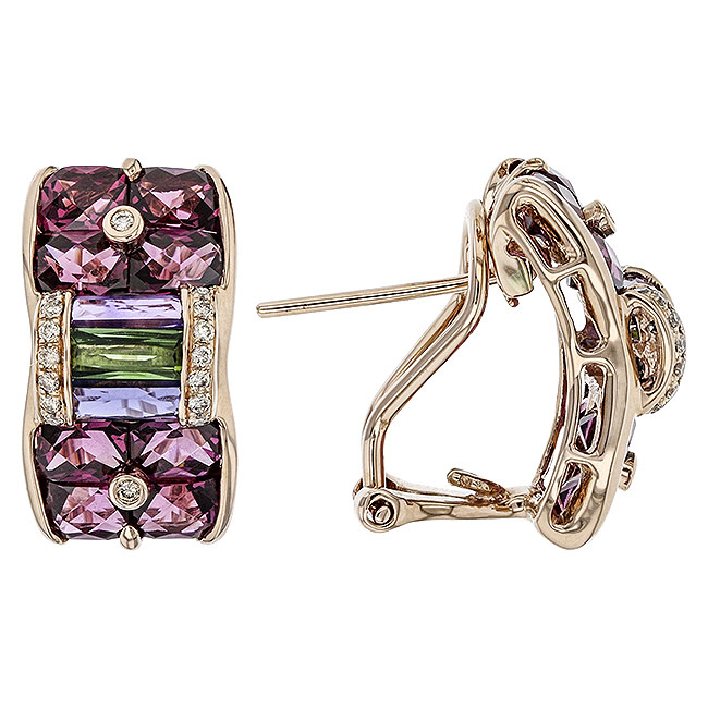 BELLARRI 14K RG 7.02CTW RHODOLITE/1.66CTW BL TOP(IRR)/AMY(HE)/GRN TOURM/RHODOLITE/0.15CTW DIAMOND EARRINGS